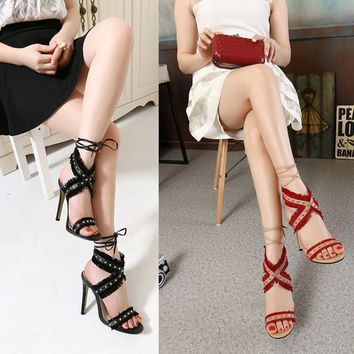 Summer Fashion Multicolor Tassel Rivet Hollow Crisscross Bandage Exposed Toe Sandals Women Heels Shoes