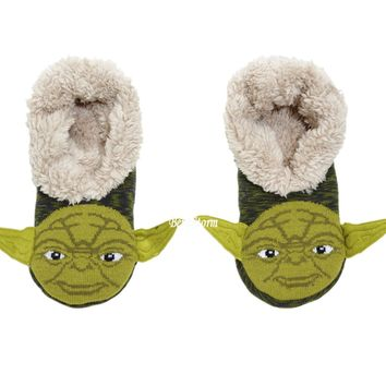 Licensed cool STAR WARS JEDI YODA Adult Cozy Fluffy Faux Fur Slippers Socks Anti Slip Soles