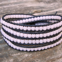 Beaded Leather 4 Wrap Bracelet with Opaque Light Pink Czech Glass Beads on Black Leather