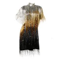 Naeem Khan Hand-Beaded + Sequin Ombre Fringe Flapper Dress