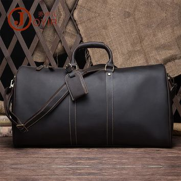 NEWEEKEND Leather Travel Bag Luggage Bags Travel Hand Bag Large-Capacity Portable Shoulder Bags Men's Casual Vintage Messenger