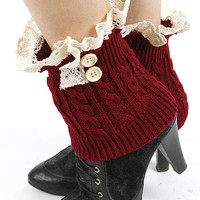 Gia Button Lace Accent Short Knit Leg Warmers in Burgundy Red