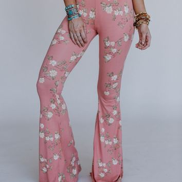 PREORDER Cher Floral Flare Pants - Blush
