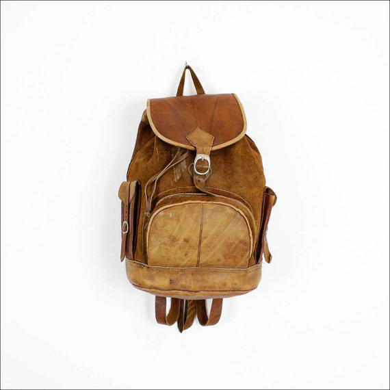 brown suede & leather backpack / rustic buckled cargo rucksack