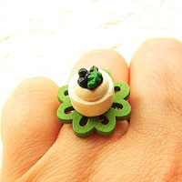 Kawaii Food Ring Blueberry Cheesecake Miniature by SouZouCreations