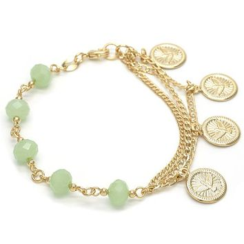 Gold Layered 03.32.0113.07 Charm Bracelet, Holy Spirit and Curb Design, with Dark Apple Green Opal, Polished Finish, Golden Tone
