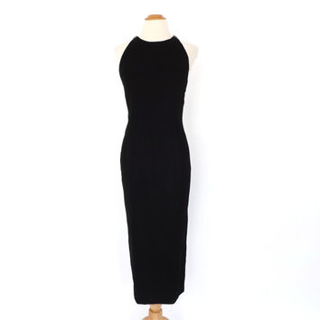 Vintage 1990s Black Velvet Wiggle Dress Midi Cocktail Dress Bombshell Mod 1960s Style Sheath Dress Prom Gown Sexy Party Dress Size 6 Small