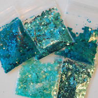 Teal Solvent Resistant Glitter Sampler Set of 5 for Glitter Nail Art and Glitter Crafts