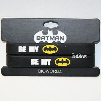 "Licensed cool DC  Be My Batman Bat Logo Best Friends BFF Rubber Bracelet  2 PK 1/2"" NWT"