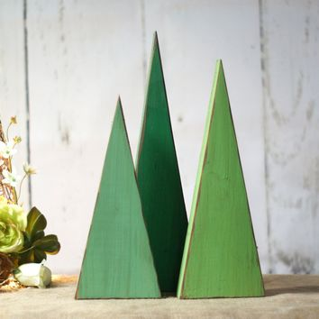 LARGE Green Wooden Tree, Rustic Christmas Tree