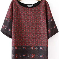 Wine Red Round Neckline Tribal Printed Top