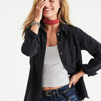 AEO Destroyed Denim Button-Down Shirt, Black