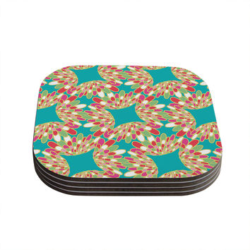 "Miranda Mol ""Wings"" Green Teal Coasters (Set of 4)"