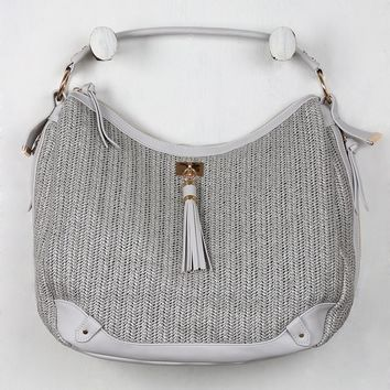 Woven Straw Vegan Leather Tassel Handbag