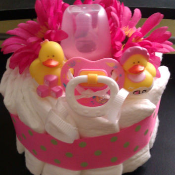 Small Baby Duck Girl Diaper Cake