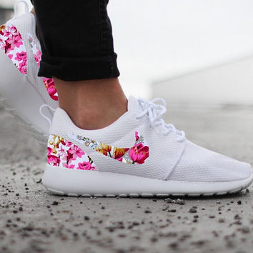 Nike Roshe Run Womens White with Custom Pink Floral Print