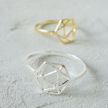 Geodesic Ring, Geometric ring, signature ring, Architectural jewelry