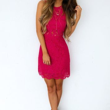 Time Stands Still Dress: Fuchsia