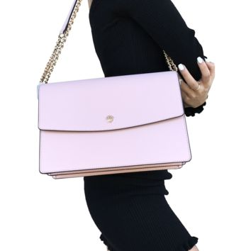 Tory Burch Parker Large Shoulder Flap Bag Chain Tote Pink Quartz Cardamom Tan
