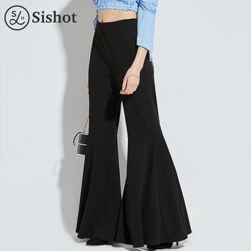 Women office trousers autumn black plain flare pants full length fashion zipper pleated bell bottoms office pants