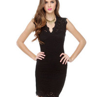 Romantic Black Dress - Little Black Dress - Lace Dress - $42.00