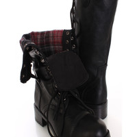 Black Faux Leather Lace Up Stylish Combat Boots