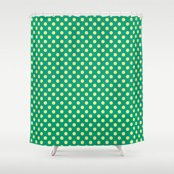 Emerald Green With Yellow Polka Dots Shower Curtain by Inspired By Fashion