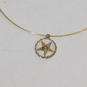 OES Pendant, Order of the Eastern Star, Inverted Star, 5 Point Star, Star of the East, Female, Freemason, Symbols, Sirius, Gold tone, Choker
