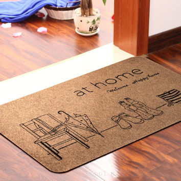 Two design three kinds of specifications of the kitchen cartoon factory outlet door mat Printing bath mat