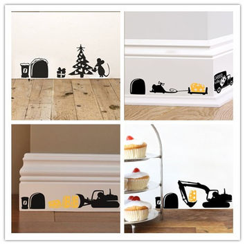 3d Funny mouse hole wall stickers for kids rooms transport food home decals Christmas decoration removable wall murals