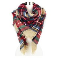 Women's Plaid Blanket Wrap Scarf - Sylvia Alexander