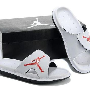 PEAPGE2 Beauty Ticks Nike Air Jordan White Casual Sandals Slipper Shoes Size Us 7-13