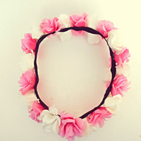 Pink and Ivory Flower Crown Coachella Flower Headband Bohemian Hair Accessories Wedding Hippie Headband