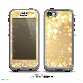 The Gold Unfocused Sparkles Skin for the iPhone 5c nüüd LifeProof Case