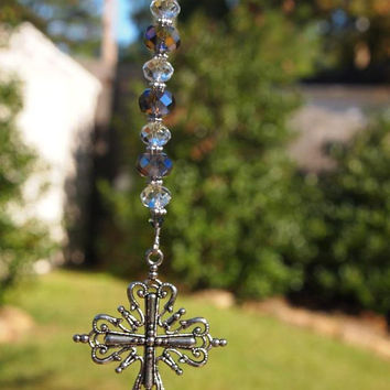 Rear View Mirror Charm, Rear View Mirror Ornament, Cross Rear View Mirror Charm. Car Bling, Gift for Her, CKDesigns.US