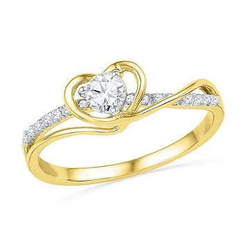 10kt Yellow Gold Women's Round Diamond Heart Love Promise Bridal Ring 1/4 Cttw - FREE Shipping (US/CAN)