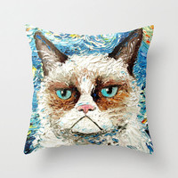 Pillow cover cat art by Aja 16x16 or 18x18 Grumpy Cat Is Still Grumpy