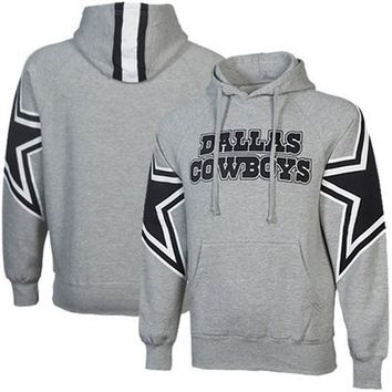 Dallas Cowboys Face Mask Hoodie Sweatshirt - Gray