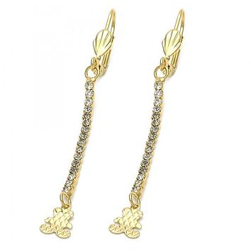 Gold Layered 5.069.001 Long Earring, Teddy Bear Design, with  Cubic Zirconia, Gold Tone