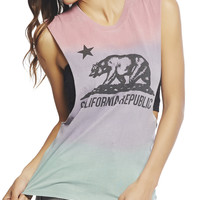 California Flag Ombre Open Back Tank | Wet Seal