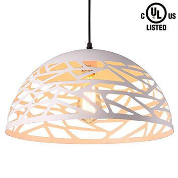 CREALITE UL Listed Modern Style 1-light Contemporary Hollow Pendant light with Metal Shade in White Finish-Modern Industrial Edison Style Hanging CL2017050 (Leo White)