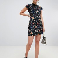 Miss Selfridge dress with all over floral embroidery at asos.com
