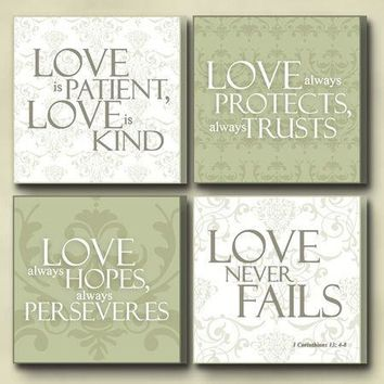 """Christian Wall Art - Four Plaque Set """"Love Is"""""""