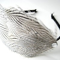 Headdress Natural feather Black and White by boutiquepeony on Etsy