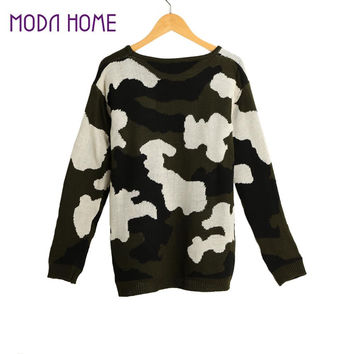Women Knitting Sweater Camouflage Pull Hiver Long Sleeve Ladies Knitted Top Camo Warm Lady Knitwear SM6