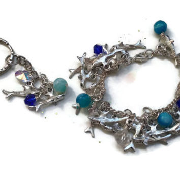 """Shark Bracelet with Swarovski Crystals and Blue Agate Gemstones with FREE Matching Keychain - 6"""" Extender Optional - Soldered - BRC091"""