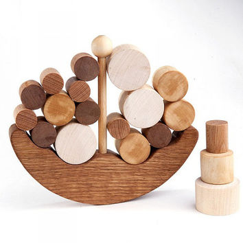 Wooden Balance Toy - Ship - Organic Wooden Balancer Game - Educational set - Handmade Kids Gift - Montessori Toy