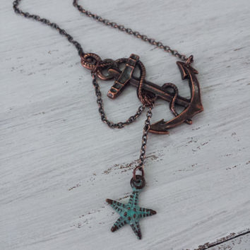 Lost at Sea Necklace by SBC, Antique Copper Anchor, Teal Starfish, Anchor Jewelry, Starfish Necklace, Sideways Anchor, Nautical Necklace