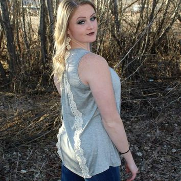 Grey Tank Top with Lace and Tie Up Back