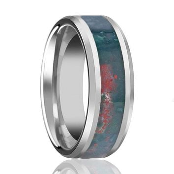 GORE Beveled Men's Tungsten Wedding Band with Blood Stone Inlay Polished Finish